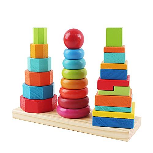 deAO Torre de Bloques de Construcción Apilables de Madera Juego Infantil Diseño Colorido y Seguro de Apilar, Equilibrio y Habilidad Juguete Educativo para el Desarrollo Temprano Niños y Niñas