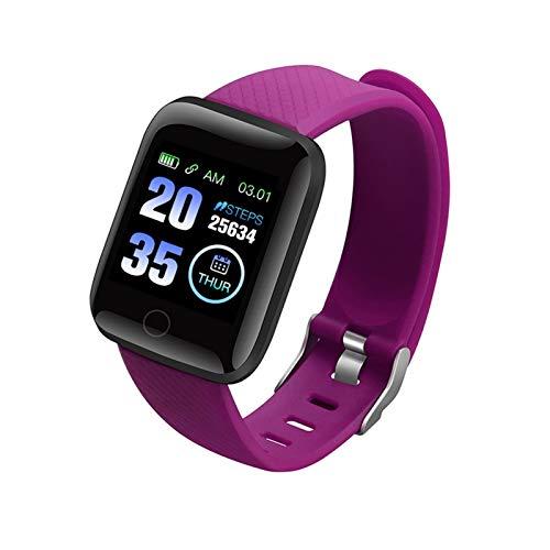 GYY Relojes Inteligentes 116 Plus Ritmo Cardíaco Reloj De Pulsera Inteligente Relojes Deportivos Banda Inteligente a Prueba De Agua SmartWatch Android A2 (Color : Purple)