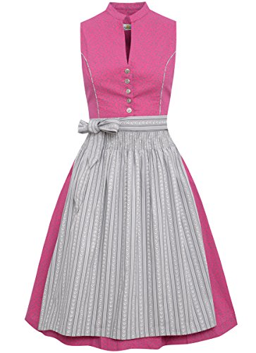 Almsach Damen Trachten-Mode Midi Dirndl Annelie in Pink traditionell, Größe:40, Farbe:Pink