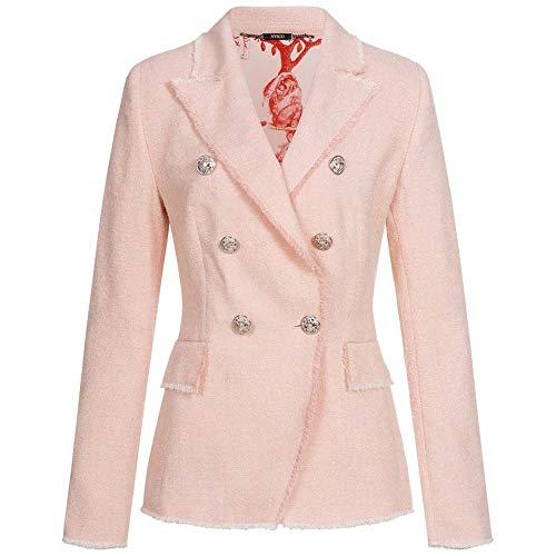 NVSCO Bouclé-Blazer Khloe mit Fransenbesatz 38 rosa