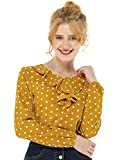 Allegra K Blusa Túnica Camisa Lunares Vintage Manga Larga Cuello De Volantes para Mujer Amarillo L