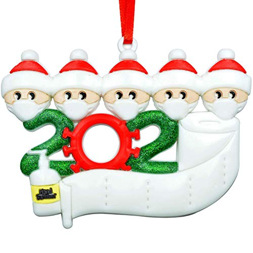 2-6 Members Personalized DIY Quarantine Family 2020 Christmas Ornament 5 Members Personalized Christmas Ornaments Decorations Gifts (Not Include Pen) (White, 5 Person)