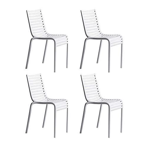 driade Pip-e - Lot de 4 chaises, Blanc B4 Mat