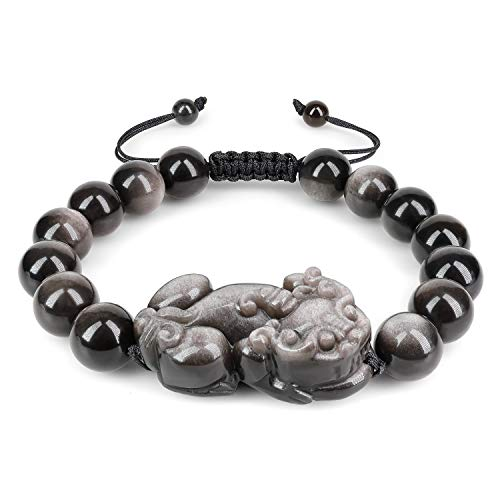 COAI Pulsera Ajustable para Hombre de Obsidiana con Amuleto Pixiu