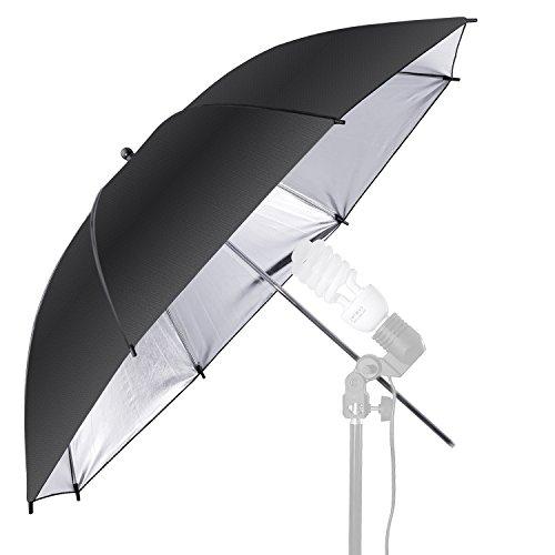 Neewer 10000070 Professionnel Parapluie Réflecteur pour Studio Photo Noir/argenté lumière flash 84 cm