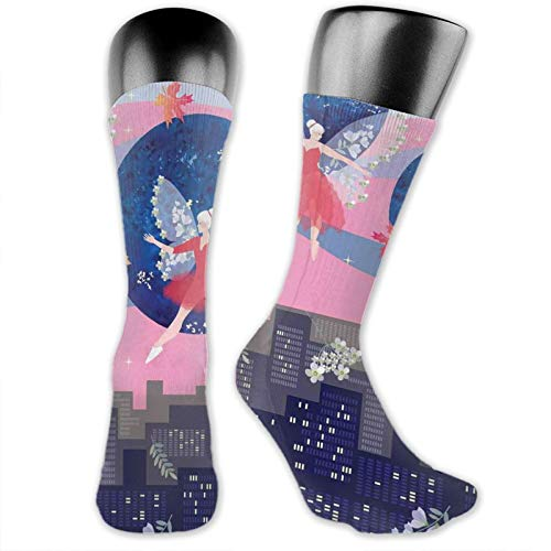 Moruolin Compression High Socks,Magical Dance Of Beautiful Winged Ballerina Fairies Over The City At Dawn Print,Women and Men For Running,Athletic,Hiking,Travel,Flight