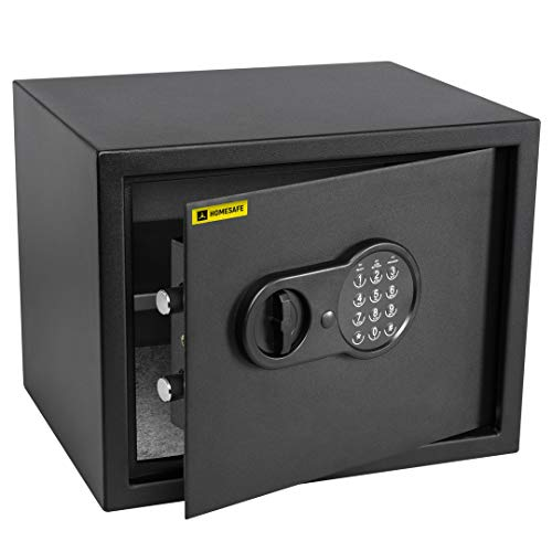 HomeSafe HV30E Caja fuerte Electrónica 30x38x30cm (HxWxD), Negro Satén de Carbón