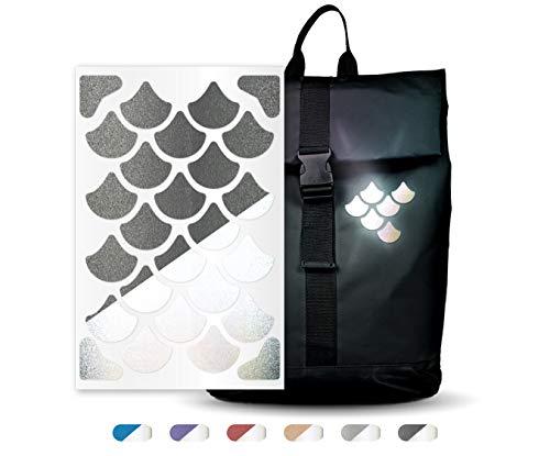 reflexsticker in metallic-matt Edition – versch. Motive und Farben – selbstklebende Reflektoren-Aufkleber – Bogenmaß L (16 x 10,5 cm) - für Textilien, Kleidung, Ranzen, Helme etc (Motiv #6, schwarz)