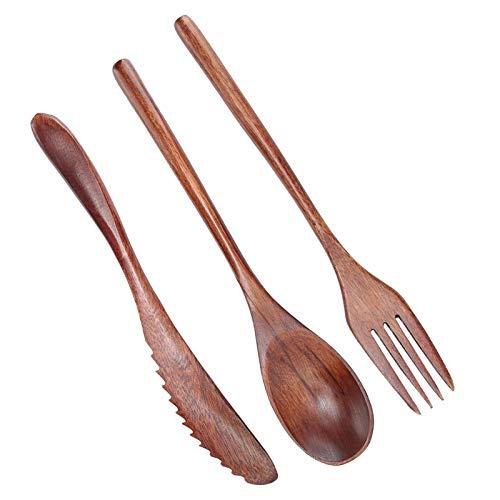 Cucharas de madera de 9 piezas, tenedor, cuchillo, vajilla, cubiertos de cocina,...