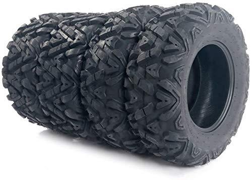 SUNROAD 4PCS All Terrain ATV UTV Tires Set 25x8-12 Front & 25X10-12 Rear 6Ply