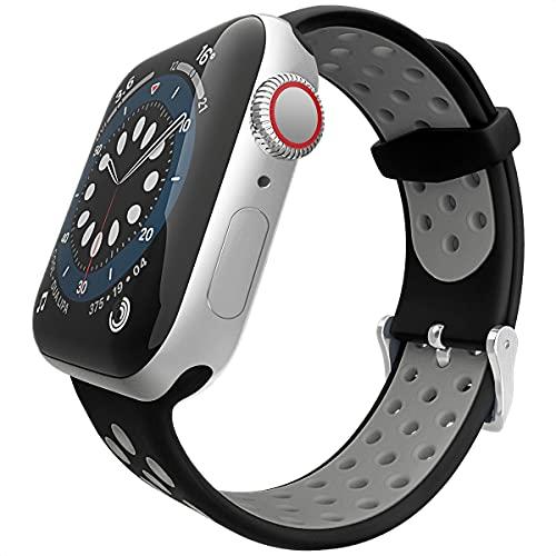 Correa de silicona compatible con Apple Watch, 42 mm, 44 mm, tejido de repuesto, compatible con Apple Watch SE/iWatch Serie 6 5 4 3 2 1,