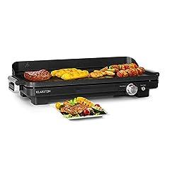 Klarstein Charleroi Turbo – elektrisk bord grill Plancha grill, 2000 watt, 220/240 °C, DuoGrill Concept: grillplatta räfflad/slät, grillarea: 48×23 cm, non-stick beläggning, oljeuppsamling, svart