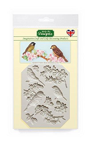 Molde de silicona con diseño de flores y pájaros para decoración de tartas, manualidades, magdalenas, dulces, tarjetas y arcilla, aprobado para alimentos, fabricado en el Reino Unido