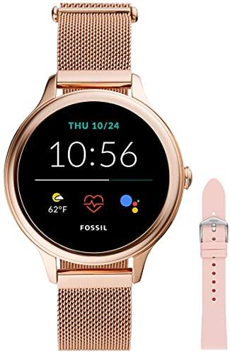 Fossil Connected Smartwatch Gen 5e para Mujer con tecnología Wear OS de Google, frecuencia cardíaca, NFC y notificaciones smartwatch + Correa de Reloj S181395, Rosa