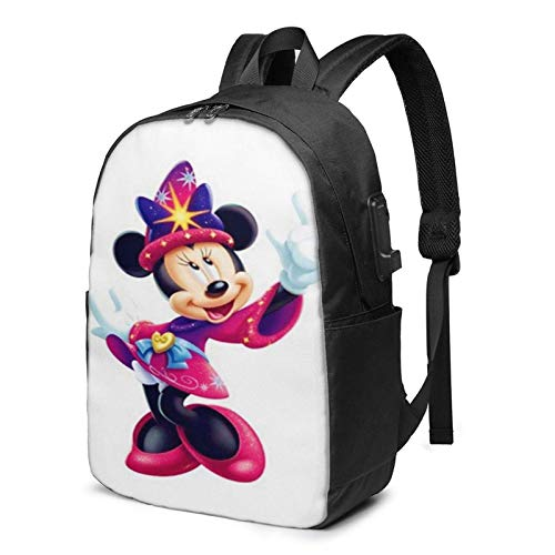 AOOEDM USB Backpack 17 in Minnie The Wizard Laptop Backpack- with USB Charging Port/Stylish Casual Waterproof Backpacks Fits Most 17/15.6 Inch Laptops and Tablets/for Work Travel School