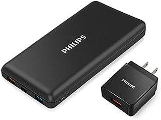 PHILIPS フィリップス モバイルバッテリー ACアダプター付き 20000mAh Type-C 入出力超大容量 QC3.0 PD 急速充電 軽量 2台同時充電 iPhone アンドロイド タブレット 2.1A スマートフォン 充電器 DL...