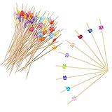 200 Palitos para Cócteles Cóctel Mezclador Bambú Frutas para Barbacoa Fiesta, Coctelería Pinchos san valentín boda fiesta (Joyas cuadradas de flores multicolores)