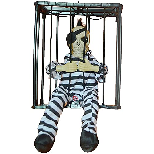 Halloween Colgando Del Sensor De Movimiento De Halloween Enjaulado Animado Cárcel Del Preso Esqueleto Terror Decoración De Luz Intermitente Hasta Prop Juguete, Para El Partido Patios Ajardina(Color:B)