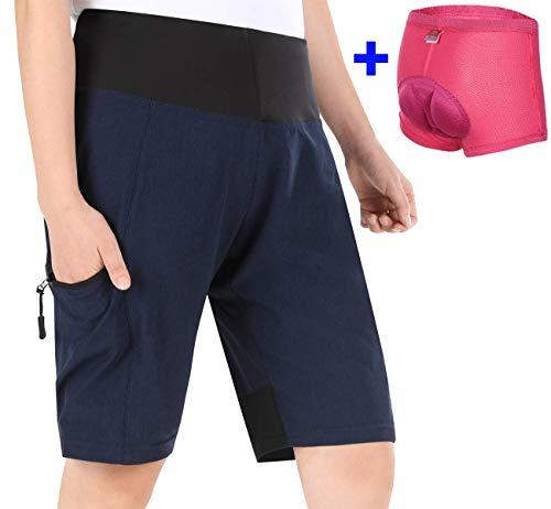 Cycorld MTB Shorts Damen Radhose, MTB Hose mit Innenhose und hochwertigem Sitzpolster, Schnelltrocknend Fahrradhose Damen Mountainbike Shorts Outdoor Shorts