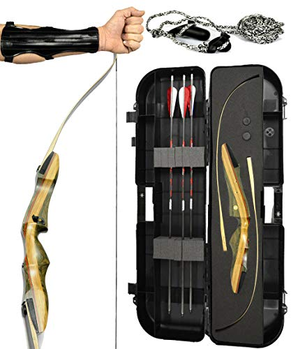 Spyder XL Takedown Recurve Bow - Ready 2 Shoot Archery Set | INCLUDES Bow, Instructions, Premium Carbon Arrows, Recurve Bow Case, Stringer Tool, Armguard, FREE GIFT | 55 lb RH -red