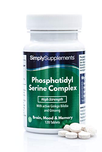 Fosfatidil Serina - Con ginkgo biloba y ginseng coreano - ¡Bote para 4 meses! - Apto para veganos - 120 Comprimidos - SimplySupplements