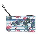 1 estuche de lona para lápices, bolsa de maquillaje con diseño de flamenco rosa y playa de malas hierbas