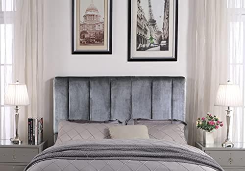 Iconic Home Uriella Headboard Velvet Upholstered Vertical...