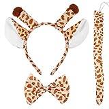 BESTOYARD 3 Pcs Enfant Adulte Dessin animé Giraffe Oreilles Bandeau Queue Ensemble pour Costume Partie Cosplay Accessoires
