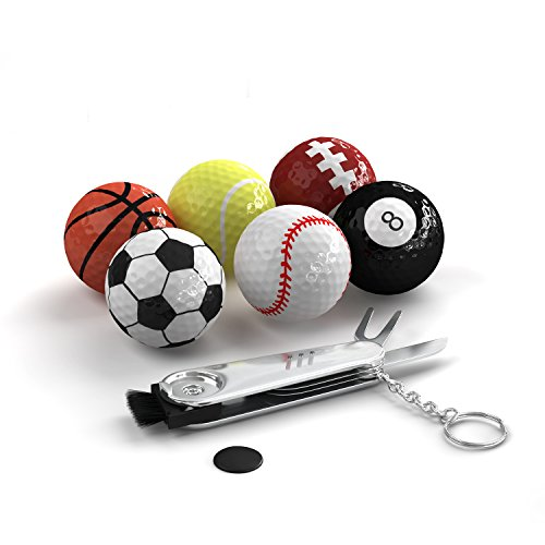 Trained Sports Themed Golf Balls Set Pack of 6 Novelty Balls with Multifunction Golf Tool, Gift Idea for Golfers for Every Occasion, Unique and Fun Design