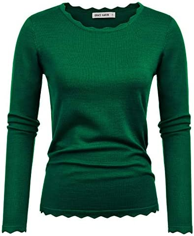 GRACE KARIN High Stretchy Long Sleeve Knitting Pullover Sweater Dark Green Size M CL889 7 product image