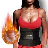 Waist Trimmer - Sweat Band Waist Trainer - Optimal Back Support - Non-Slip Adjustable Design Black