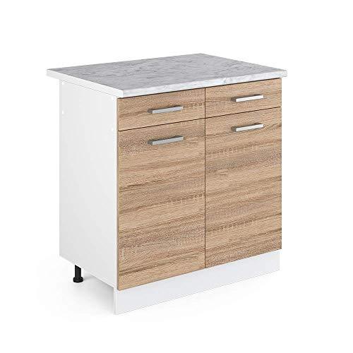 Vicco Küchenschrank R-Line Hängeschrank Unterschrank Küchenzeile Küchenunterschrank Arbeitsplatte, Möbel verfügbar in anthrazit und weiß (Sonoma mit Arbeitsplatte, Schubunterschrank 80 cm)