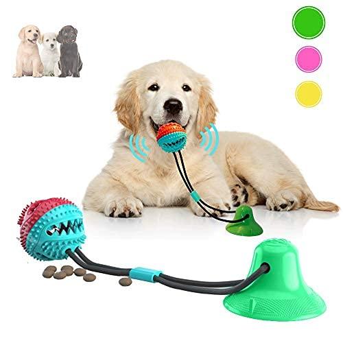 Juguete masticable para perros para masticadores agresivos, bola interactiva de cuerda con ventosa fuerte (verde primavera)
