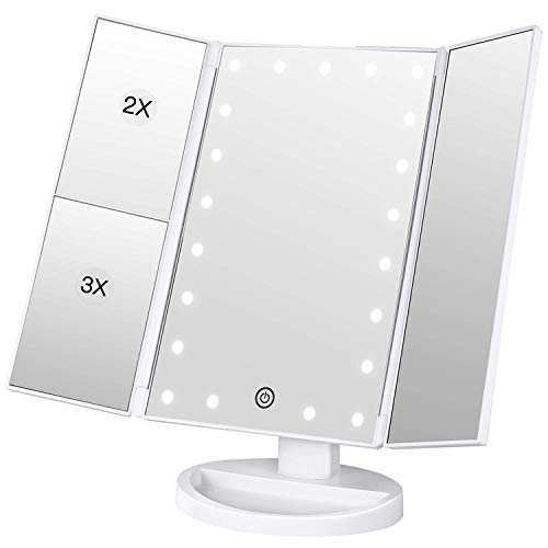 BESTOPE Lighted Makeup Mirror 2X/3X Magnification Vanity Mirror Tri-fold Make up Mirror Table Mirror with 21 LED Lights Touch Sensor Switch