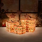 XUEYU Lighted Gift Boxes, Set of 3 Outdoor Christmas Decorations, Rustic 60 LED Light Up Presents Boxes, Plug-in Home Decor (Warm White-A)