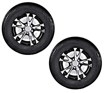 2-Pk Eco Trailer Tire Rim ST205/75D14 Load C 5 Lug Aluminum T07 V-Black Wheel