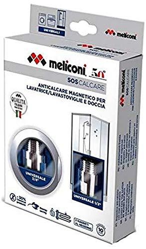 Meliconi SOS Calcare Doppio- confezione con 2 dispositivi magnetici anticalcare per lavatrice lavastoviglie e per doccia. Prodotto Made in italy