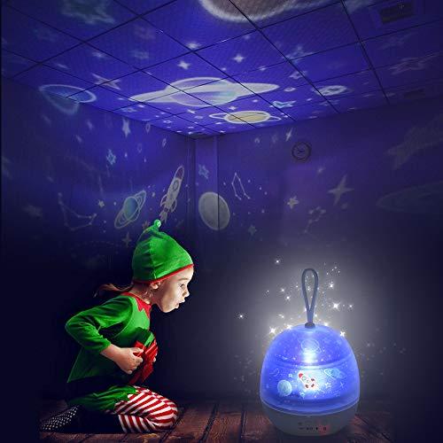 Proyector de Estrellas, 360 Grados de rotación del Universo luz de la Estrella Noche Regalos lámpara de proyección indicado para niños de 4 Series de películas