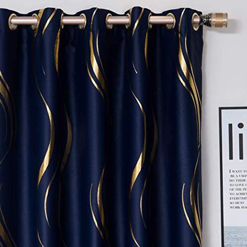 1 par de cortinas opacas para dormitorio, cortinas de rayas de lujo para sala de estar (azul marino y dorado, 2 x 140 x 245 cm)