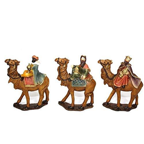 Aurora Store Set 3 RE Magi a Cammello Natività da h. 11 cm Presepe Statuine in Resina con 3 soggetti Personaggi da 9 x 3 x h. 11 cm Sacra Famiglia