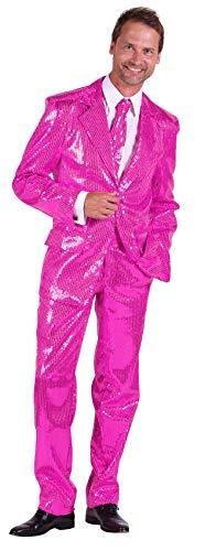 T2206-1100-48 pink Herren Pailletten Anzug Jackett Sakko Hose Disco Kostüm Gr.48