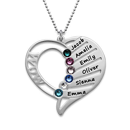 Engraved Mom Necklace Made with Swarovski Crystals-Heart Pendant 925 Sterling Silver