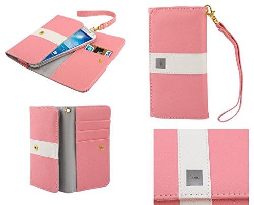 DFVmobile - Etui Tasche Schutzhülle aus Premium mit Motiv Liniendesign mit Kartenfächer für JiaYu G5 - Rosa