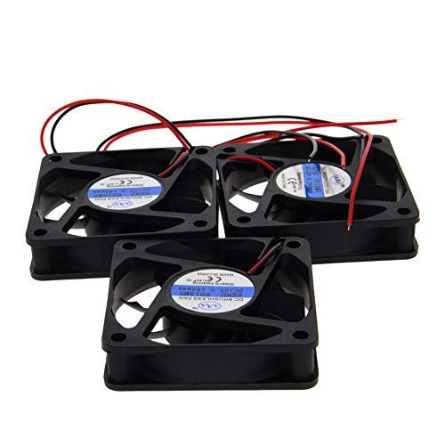 Othmro 6015MS - Ventilador de refrigeración sin escobillas (12 V, 2,4 W, 0,2 A, 60 x 60 x 15 mm, 3 unidades)