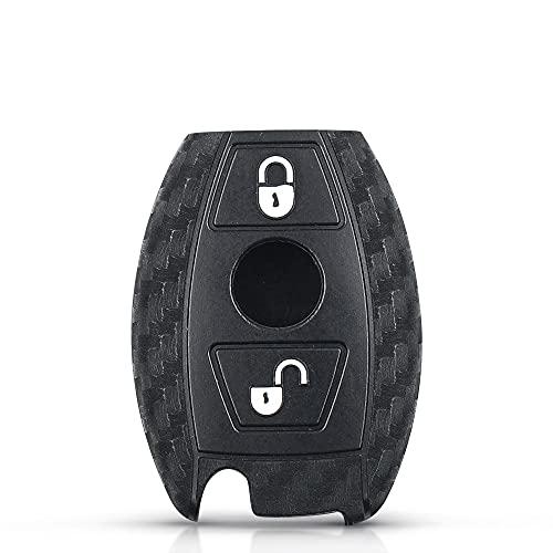 2/3 Botones de Silicona de Carbono para Mercedes Benz CLS CLA GL R SLK AMG ABCs Funda Protectora con Mando a Distancia Funda Protectora Carcasa de Llave CarbonSilicone2BT
