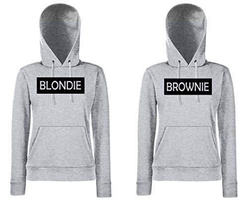 Blondie & Brownie BFF Damen Hoodies Kapuzenpullover Best Friends Beste Freunde Sister - Blondie M, Brownie XS, Grau