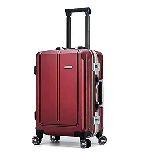 Huangwanru Lightweight Trolley Case Large Size Travel Suitcase Retro Aluminum Frame Universal Wheel Suitcase Password Board Case Trolley Case 20inch / 24inch With Spinner Wheels