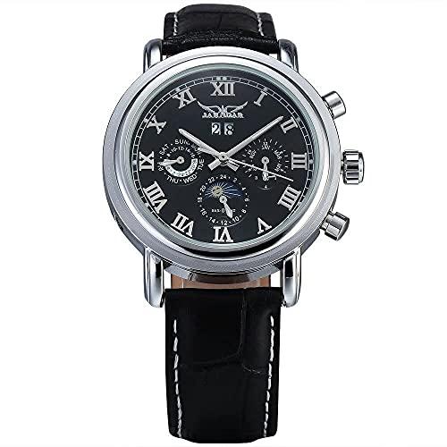 QHG Luxury Automatic Mechanical Watch Mo Moon Fase Canlendar Auto Dial Hour Dial Cuero Banda Vestido Relojes de Pulsera (Color : Black)