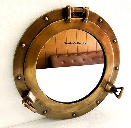 Espejo de 30,48 cm, acabado antiguo, para colgar en la pared, para salón, dormitorio, oficina