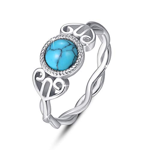 Celtic Knot Turquoise Rings 925 Sterling Silver Round Turquoise Infinity Rings Wiccan Birthstone Dainty Ring Irish Jewelry Gift for Women Engagement Anniversary Wedding - Size 7